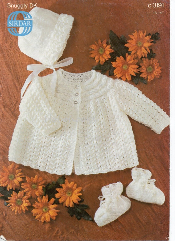 Knitting Patterns For Babies Jackets : Baby Knitting Pattern Baby Matinee Coat Bonnet & Bootees Baby