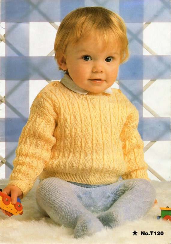 Knitting Pattern For Newborn Jumper : Baby Knitting Pattern Baby Sweater Baby Jumper Knitting