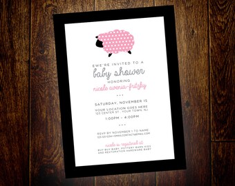 Ewe're Invited Sheep Baby Shower Invitation – Printable, Digital File – DIY