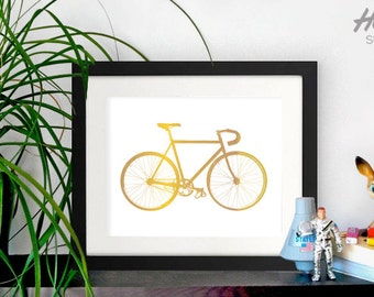 Bike print, bicycle print, bicycle poster, posters, bike posters, gold posters, gold prints, art prints, minimal poster, art prints, bikes