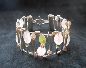 Hand Woven Cuff - Rose Quartz & Peridot Gems, Sterling Silver - Loom Woven Bracelet - Spring Colors Green+Rose - artisan jewelry