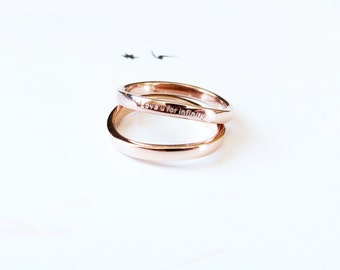Love U For Infinite Band Ring 18k Rose Gold Couple Band Engraved Letter Band Love Ring Simple Men Women Everyday Wedding Bridal Ideal Gift