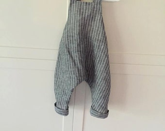Baby Boy Linen Overalls / Custom made Linen Baby Outfits/ Baby Boy Linen Outfits