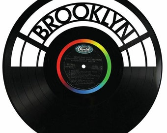 Reclaimed Record Brooklyn Wall Art Sign from Recycled Record -
