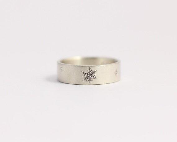 Diamond Engagement Ring or Wedding Band in Matte White Gold