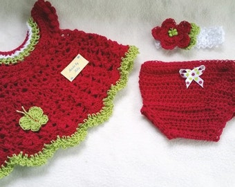 Hand crocheted stunning set for newborn up to 2 months baby girl: Dress, diaper cover and headband