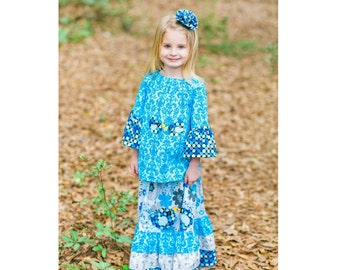 Boutique Little Girl Outfit - Ruffle Maxi Dress - Little Girl Blue Dresses - Toddler - Long Skirt - Peasant Top - Long Sleeves - 2T to 8 yrs