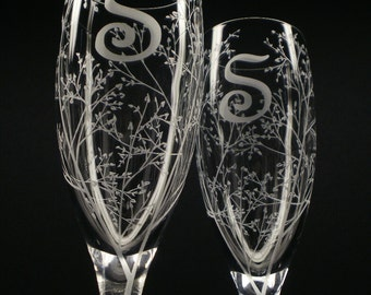 Personalized Spring Wedding Flutes 2 Custom Engraved Champagne Glasses Branches and Leaves' Monogram Initial Personalized Wedding