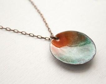 Enamel necklace - handmade enamel pendant - torch fired enamel pendant - beach jewelry - large disc necklace