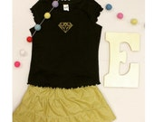 Black Ruffle Edge Shirt with Gold Diamond Embroidery - you choose SIZE