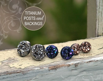 Faux Druzy Stud Titanium Earrings - 3 Pair Set Drusy Glitter Posts. Galaxy Collection. Dark Silver, Blue-Purple Multi, Rose Bronze