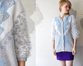SALE...80s slouch cardigan. fuzzy cardigan. pastel cardigan - small to medium