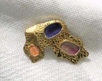 Brooch Pin Big 80s Purple Lavender Peach Enamel Vintage 1980s Costume Jewelry