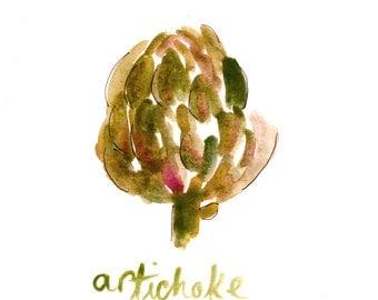 Artichoke - Watercolor - 8x10 Print  - Illustration - Vegetable - Cook - Kitchen Art - Food Lover - Foodie - Gift