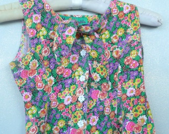 Girls Romper - Cotton Floral - Sailor Tie Neck - Spring - 90s - Summer - Wedding - Easter - Recycled - Pink - Lavender - Green