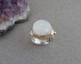 White Mother of Pearl Ring in 18k PINK Gold and Sterling Silver, Luminescent Ring