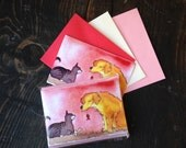 Valentine Cards - Funny Cat and Dog Valentines Cards - Animal Note Cards Set of 12 - Stationery - Watercolor Dog and Cat Greeting Cards