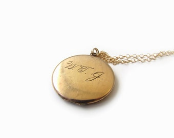 SALE-Antique Victorian Locket With Engraved Initials WTJ c.1880s