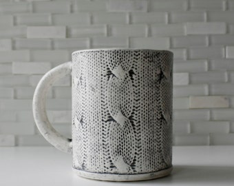 IN STOCK! Cozy mug with cable-knit texture | coffee mug tea cup | original modern handmade sweater design
