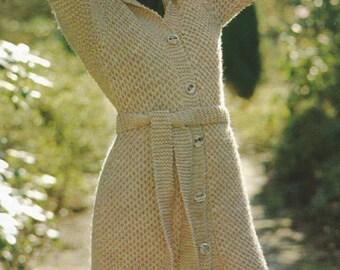 Vintage  Woman's Honeycombe Knit Sweater PDF Pattern