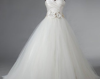 Pleated Satin and Tulle Wedding Dress