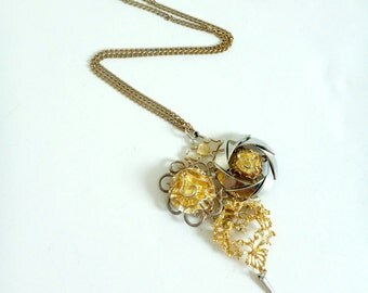 Upcycled Chunky Statement Necklace- Mixed Metals, Vintage, HUGE, SIlver, Gold, Avant Garde