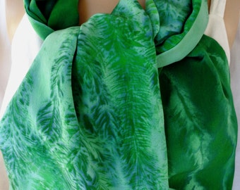 silk scarf Evergreen Pine hand painted large long luxury crepe unique emerald greens forestwearable art morgansilk scarves