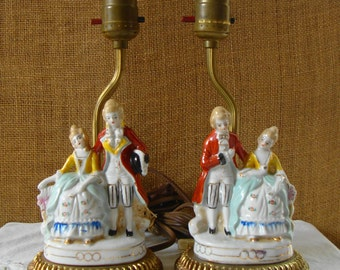 2 VICTORIAN LAMPS Porcelain Couple In Finery Brass & Porcelain Lamps Victorian Man And Woman Boudoir Lamps