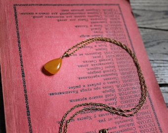 Opaque yellow Amber bead on filigree brass chain - Genuine baltic amber necklace, boho pendant