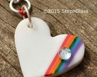 Art Glass Heart Rainbow Pendant // Fused Glass Pride Necklace // StephGlass Original Art