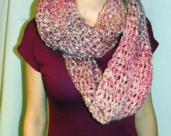 Pink Infinity Circle Scarf, Loop Cowl Scarf, Soft, Warm, Crochet, Chunky knit Yarn, Womans circle Scarf, Birthday Gift, Made in USA