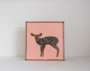 forest nursery decor,  woodland nursery, deer wall art- nursery art- rustic kids room decor- pink nursery- art block -redtilestudio