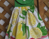 Summer Lemon Hanging Kitchen Tea Towel, Hanging Hand Towel, Lemon Kitchen Decor, Yellow Kitchen, Kitchen Towels SnowNoseCrafts