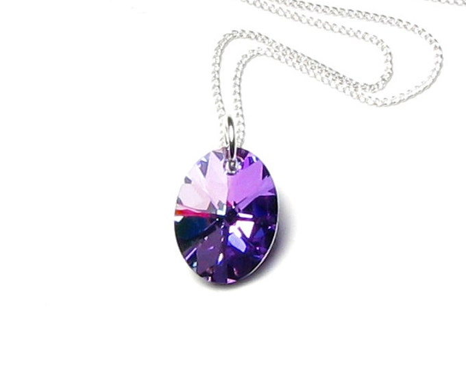 Light Vitrail Swarovski Crystal Oval Silver Pendant Necklace, Lilac Crystal, Silver Jewelry, Simple, Pink, Gift for Teen, Jewelry for Women