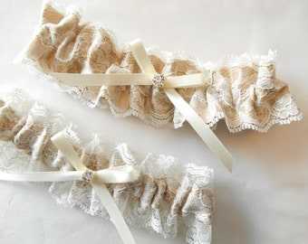 Wedding Garter Set  Light Ivory Antique Ivory and White lace and Custom Satin Color Pearl Rhinestone Cluster Garter Set