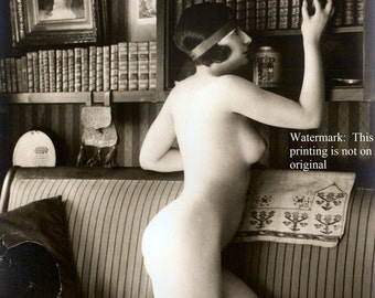 Early 1900s Risqué Nude Female with Books Print Reproduction ~ 8x10