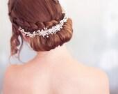 Silver crystal babies breath halo, Floral Hair Vine, crystal Bridal Hair Wreath, Wedding Headpiece, silver Bridal Headband, READY to SHIP