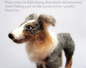 CUSTOM felted PET replica meme poseable fiber sculpture pet cat dog portrait, animal miniature / please message before buying/ Made to order