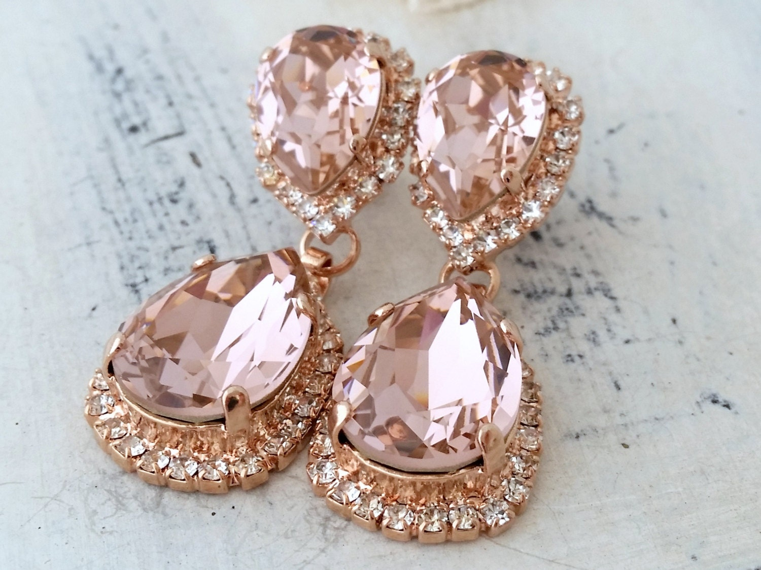 Blush earringsMorganite earring Rose goldChandelier