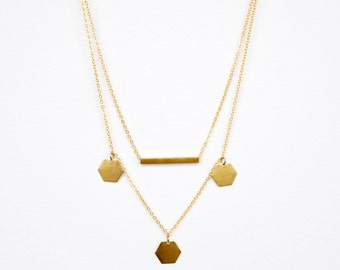 Layered Necklace Set, Hexagon Layered Necklace, Gold Bar Layered Necklace