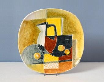 Large Mid Century Modern Alvino Bagni Hand Painted Plate