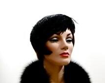 Vintage Hat Fascinator Black Feather Headpiece //  Womens Vintage Accessories 1950s