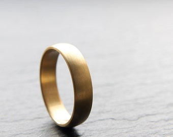 5mm mens wedding ring in recycled 18ct yellow gold, brushed finish, D-shape profile - handmade to order