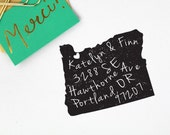 Custom Return Address Stamp, State with Heart or Star on City