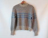 80s Gray Striped Wool Sweater / Blue Stripes / Gerry Outdoor Colorado / Small Medium / Preppy Sports Ski Sweater / Grey Chunky Wool Sweater