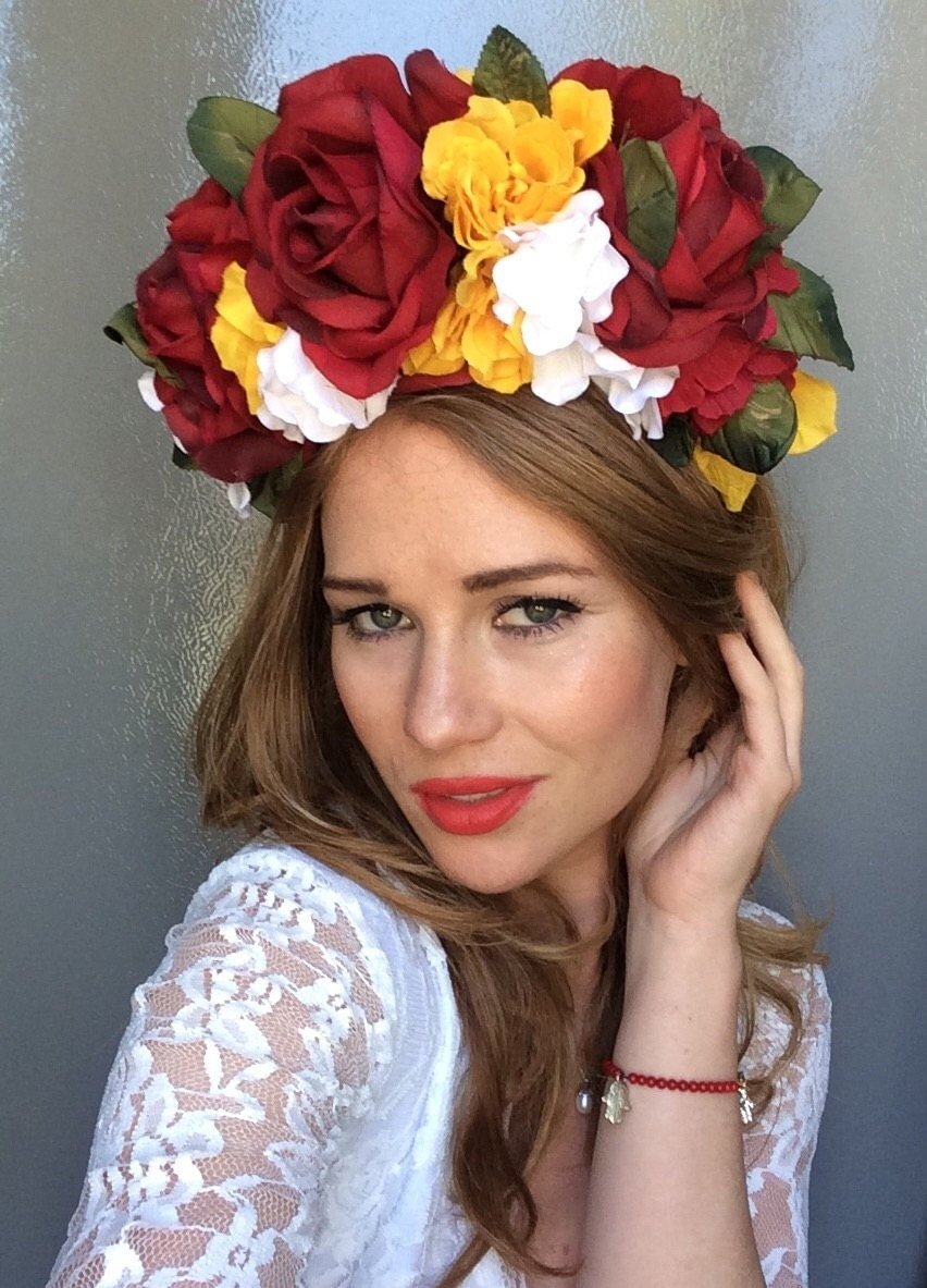 Oversized red yellow white green flower crown ukrainian zoom dhlflorist Gallery