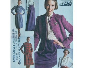 Lined Women's Jacket, Tie Collar Blouse and Slim Skirt Sewing Pattern - Simplicity 9714 -  Size 12 Bust 34 -- UNCUT Complete outfit