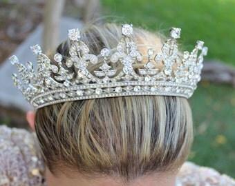 Bridal Tiara QUEEN VICTORIA Tiara Royal Bridal Crystal Wedding Crown Rhinestone Tiara Wedding Tiara Diamante Crown,Swarovski Crystal Tiara