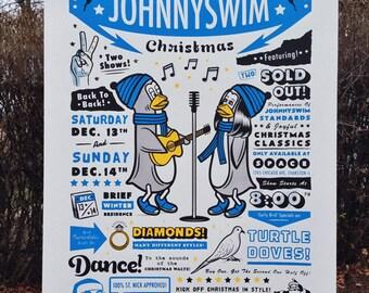 JohnnySwim Christmas 18x24 inch ScreenPrinted Gigposter   Artwork   Screen Print   Poster   Gig Poster   SilkScreen   Silk Screen   Chicago