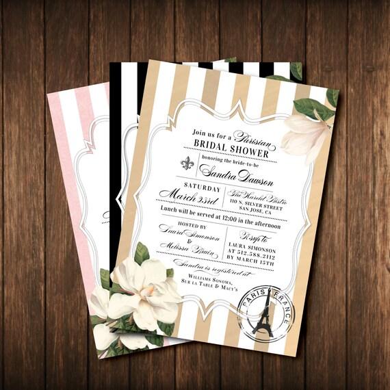 Parisian french bridal shower invitations paris by for Paris themed invitations bridal shower